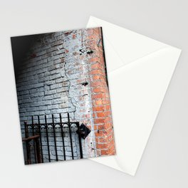White Brick Wall and Metal Fence Stationery Cards