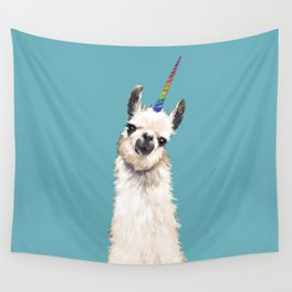 Unicorn Llama Blue Wall Tapestry