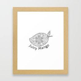 Juicy Mango Black and White Mandala Framed Art Print