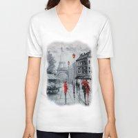 paris V-neck T-shirts featuring Paris by OLHADARCHUK