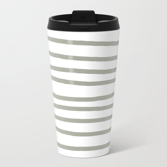Simply Drawn Stripes Retro Gray on White Metal Travel Mug