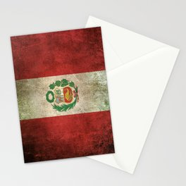 Old and Worn Distressed Vintage Flag of Peru Stationery Cards