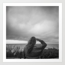 Girl Watching the Storm Clouds Roll in - Outer Banks, NC - Black and White Film Photograph Art Print