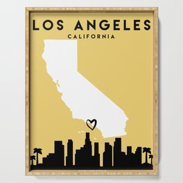 LOS ANGELES CALIFORNIA LOVE CITY SILHOUETTE SKYLINE ART Serving Tray