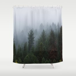 Into the Deep, Foggy, Forest Shower Curtain