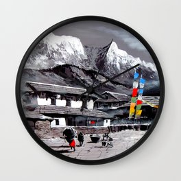 Panoramic View Of Everest Base Camp Wall Clock