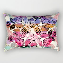 Pink and indigo flower pattern Rectangular Pillow