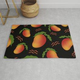 Tropical exotic sweet ripe summer mango fruits modern artistic black pattern design. Rug