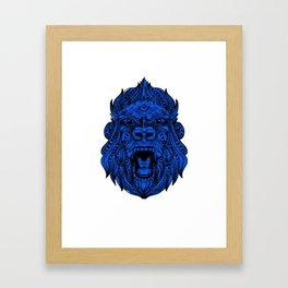 Tribal Blue Gorila Mandala Framed Art Print