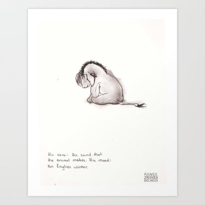 Eeyore Haiku (Handwritten) Art Print