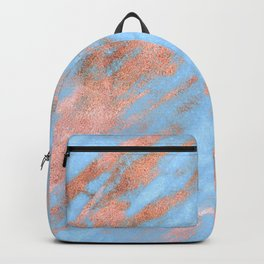 Sky Blue Marble With Rich Rose-Gold Veins Backpack