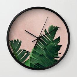 Banana Leaves on Pink Wall Clock