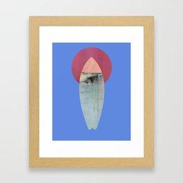 Surfboard and Moon, Surfboard art, surfing art Framed Art Print