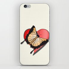 Butterfly over a heart, a symbol of romance. iPhone & iPod Skin