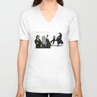 aragorn V-neck T-shirts featuring Sneaking Suspicion by wolfanita