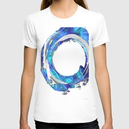 Blue And White Abstract Art - Swirling 1 - Sharon Cummings T-shirt