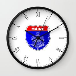 Maine Flag As A  Interstate Sign Wall Clock