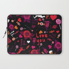 black love pattern with hearts, cupid, candy and roses Laptop Sleeve