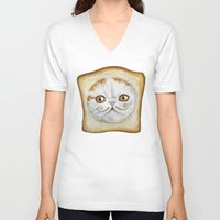 snoopy V-neck T-shirts featuring Snoopy aka Breadcat - Cats with Moustaches by Megan Mars