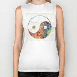 Yin And Yang - Colorful Peace - By Sharon Cummings Biker Tank