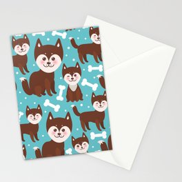 funny brown husky dog and white bones, Kawaii face with large eyes and pink cheeks blue background Stationery Cards