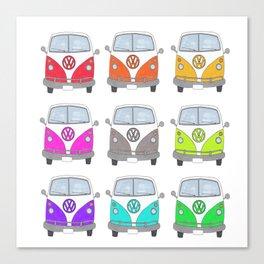 Rainbow Camper Vans Canvas Print