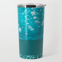 Shimmery Ocean - Sea Glitter Pattern Blue Travel Mug