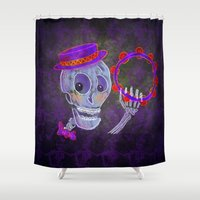 skeleton Shower Curtains featuring Skeleton by Rich Green Art & Illustrations