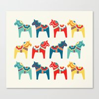 swedish Canvas Prints featuring Swedish Horses by Running River Design