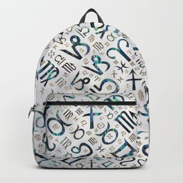 Zodiac glyphs Abalone shell and gold on pearl Backpack