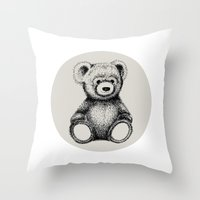 teddy bear Throw Pillows featuring Teddy Bear by Nicole Cioffe