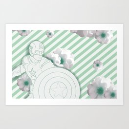 Cap Flowers+ Stripes Art Print