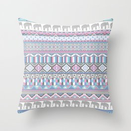 Tribal Geometric Elephant Pattern in pink, teal, and purple Throw Pillow