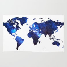 Space Milkyway World Map - Blue Rug