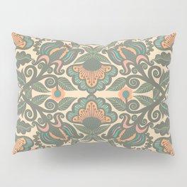 Green Vines Folk Art Flowers Pattern Pillow Sham