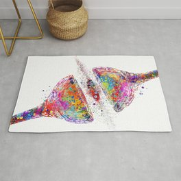 Synapse Receptor Brain Nerve Cell Colorful Watercolor Rug