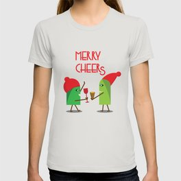 Merry Cheers Xmas Unique Fun Characters Design Party drink T-shirt