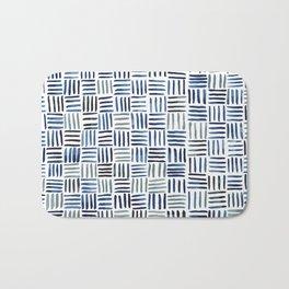 Indigo Crosshatch Pattern Bath Mat
