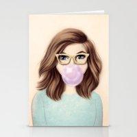 bubblegum Stationery Cards featuring Bubblegum by kristen keller reeves