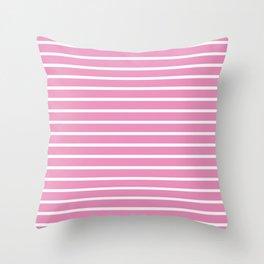 Hot Pink and White Horizontal Stripes Pattern Throw Pillow