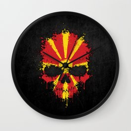 Flag of Macedonia on a Chaotic Splatter Skull Wall Clock