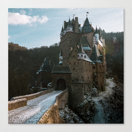 Fairytale Castle in a winter forest in Germany - Landscape and Architecture Canvas Print