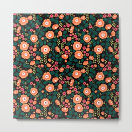 08 Floral pattern. Black background. Orange flowers. Metal Print