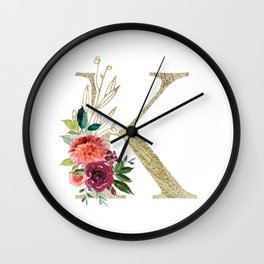 """""""K"""" Initial, Monogram in Gold and Flowers Wall Clock"""