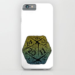 d20 dice pattern - yellow and blue gradient over black - icosahedron iPhone Case