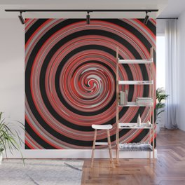 Red waves Wall Mural