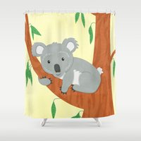 koala Shower Curtains featuring Koala by Claire Lordon