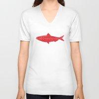 swedish V-neck T-shirts featuring Swedish Fish by Chase Kunz