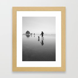 beach goers - canon beach, OR Framed Art Print