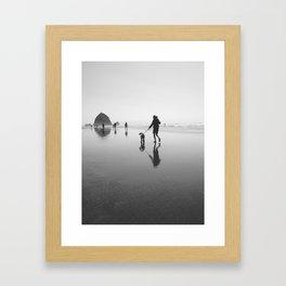 beach goers - canon beach, OR Framed Art Print